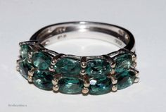 Genuine natural teal apatite gemstone band by RetroRecyclables