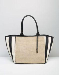 Nali Striped Straw Tote Beach Bag