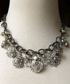 Loewy Necklace - Vintage pewter stamp ins, hand wrapped beads, crystals and silver plated etched chain.