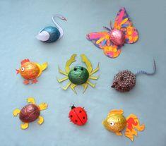 Walnut shell craft idea for kids Animal Crafts For Kids, Diy Crafts For Kids, Fun Crafts, Arts And Crafts, Craft Kids, Walnut Shell Crafts, Paper Crafts Origami, Pumpkin Crafts, Cork Crafts