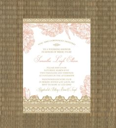 Printable Wedding Shower Invitation - Bridal Shower Invitation - Lace and Floral - Romantic Gold and Blush Pink on Etsy, $15.00