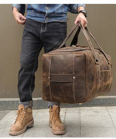 """Men Travel Bag Duffle Large Capability Genuine Leather 27"""" Weekend Bags Man Tote Business Vintage Designer Handbag Bag Mens Travel Bag, Duffle Bag Travel, Duffel Bag, Weekender, Travel Bags, Crossbody Bags, Leather Duffle Bag, Brown Leather Backpack, Cow Leather"""