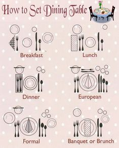 How to Set Dining Table - Etiquette . Dinning Etiquette, Table Setting Etiquette, Etiquette Dinner, Proper Table Setting, Place Setting, Etiquette And Manners, Table Manners, Breakfast Lunch Dinner, Dinner Table