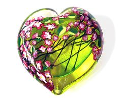 """""""Cherry Blossom Heart Paperweight on Lime""""    Art Glass Paperweight  Created by Shawn Messenger     www.artfulhome.com"""