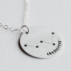 Cassiopeia Constellation Necklace - Astrological Zodiac Sign Jewelry Sterling Silver