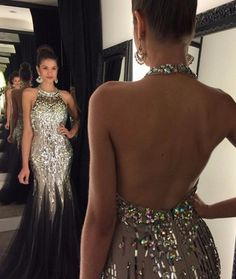 Luxurious Long Prom Party Dress - Mermaid O-Neck Backless with Rhinestone,Sexy dress,