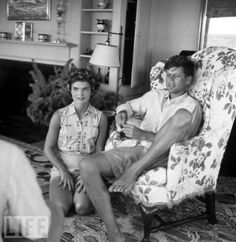 John F. Kennedy and his fiancee Miss Jacqueline Bouvier of Newport relax at the Kennedys' home in Hyannis Port during the Summer before their September wedding ~ 1953