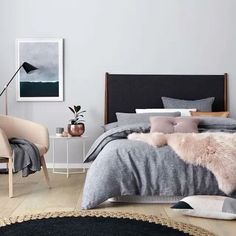 I love seeing @beksheppardstylist (the queen of bedroom styling) behind the scenes on this shoot for@Adairs - gorgeous palette - loving the pink, grey marble and copper