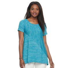 Women's Croft & Barrow® Asymmetrical Handkerchief Tee, Size: Medium, Turquoise/Blue (Turq/Aqua)