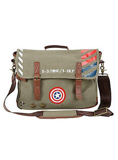 MARVEL-ous messenger bag! // Marvel Captain America Vintage Military Army Messenger Bag