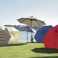 9' Auto Tilt Umbrella in Canopy Stripe Black & Sand Sunbrella - le sigh
