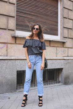off the shoulder blouse looks - Lady Addict. Striped off the shoulder blouse+jeans+black lace up heeled sandals+black shoulder bag. Summer outfit 2016