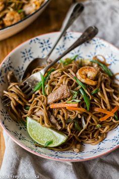 Filipino Noodles with pork, shrimp and vegetables (Pancit Canton)