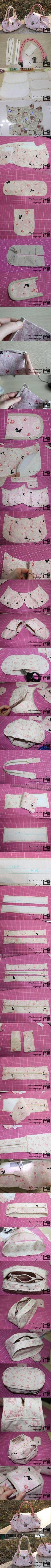 DIY Sew Cute Handbag diy craft crafts craft ideas diy ideas diy crafts how to tutorial diy accessories fashion crafts craft handbag #diycrafts #diyhandbag