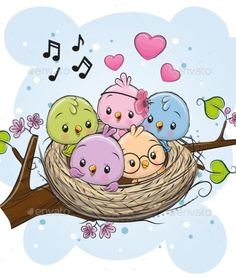 Cartoon Birds in a nest on a branch. Cute Cartoon Birds in a nest on a branch royalty free illustration Cute Animal Drawings, Bird Drawings, Cartoon Drawings, Easy Drawings, Doodle Art, Owl Doodle, Cute Images, Cute Pictures, Cute Cartoon Images
