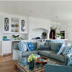 stylish coastal living rooms ideas e2. A Lovely Living Room And Kitchen Decorated In Shades Of Blue Green Designed To Be The Perfect Family Room. Nautical Design Ideas For Seaside Stylish Coastal Rooms E2 R