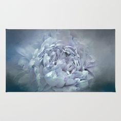 Blushing Cascade Gray Winter Peony - Floral Area & Throw Rug by Jai Johnson - $28.00