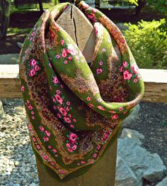 Vintage Floral Scarf // Pink and Green Accessory // Vintage Shawl // Floral Accessories // Bohemian Wall Hanging
