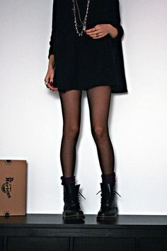 original grunge: black Doc Martens, black flowy dress / oversized sweater, black stockings socks: