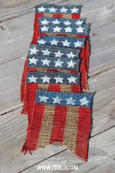 Burlap bunting flags make a festive and patriotic summer decoration.