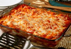 Baked Ziti recipe.  Insanely yummy & easy.  Gooey cheese, pasta, sauce, meat.