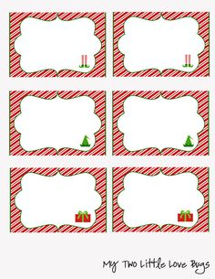 Printable Christmas Food Labels Tent Cards Place Candy Buffet S