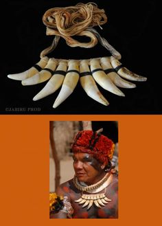 Brazil | Prestige necklace worn by the Yawalapiti men from the Xingu Indigenous Park, Mato Grosso | Natural fibers and jaguar teeth