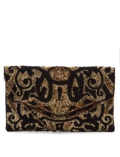 Gold (Gold) Black and Gold Baroque Beaded Clutch Gold Clutch, Beaded Clutch, Clutch Bag, Essentiels Mode, Sparkly Clutches, New Look Fashion, Women's Fashion, Gold Handbags, Travel Accessories