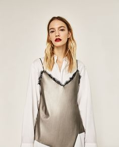 ZARA - MUJER - TOP TIRANTES ENCAJE - 19,95€ Aw 2017, Zara Women, Casual Looks, Fashion Forward, Ideias Fashion, Camisole Top, Street Style, Style Inspiration, Tank Tops