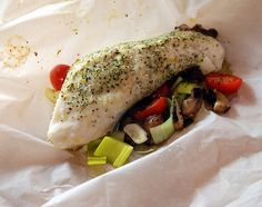 Halibut in Parchment with Button Mushrooms and Leeks