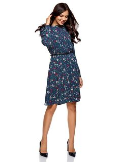 oodji Collection Women's Belted Viscose Dress: Amazon.co.uk: Clothing Viscose Dress, Belts For Women, Cold Shoulder Dress, Dresses For Work, Amazon, Clothing, Collection, Fashion, Outfits