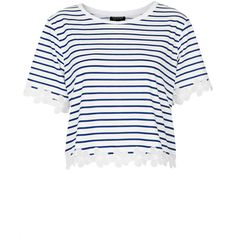 TOPSHOP Striped Daisy Organza Tee ($48) ❤ liked on Polyvore featuring tops, t-shirts, shirts, crop tops, navy blue, t shirts, navy striped shirt, crop top, stripe t shirt and striped crop top