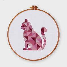 Geometric Cat cross stitch pattern Modern pink triangle
