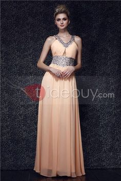 Elegante Dasha's-Vestido de Noche/Prom de Silueta Línea A Cuello en V Largo al Piso (Envío Gratuito)