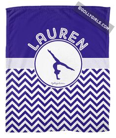 Golly Girls: Personalized Simple Blue Chevron Gymnastics Fleece Blanket only at gollygirls.com