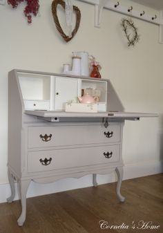 """Queen Anne secretaire in """"taupe"""""""