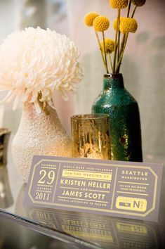 The couple wanted their wedding to feel like a night out in the city ~ so their Save The Dates resembled concert tickets ;) Designed by http://www.maemaepaperie.com/ Photography by mcconnellphoto.com, Wedding Planning & Design by marriedwithmichelle.com, Floral Design   & Decor by bellarugosa.com
