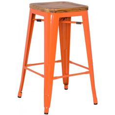"Meet our newest love - The Grand. Available in a variety of cool colors, you can mix and match to suit your style. Versatile and modern,  this bar stool can go anywhere and look grand. 16.5""w x 16.5""d x 30""h - Powder Coated Steel - Stained Pine Wood Seat"