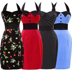 £3.56 GBP - Vintage 50S 60S Pencil Dress Polka Dots Evening Wedding Guest Home Prom Dresses #ebay #Fashion