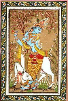 Fluting Krishna with His Beloved Cow, Folk Art Paata Painting on Tussar Silk FabricFolk Art from the Temple Town of Puri (Orissa)Artist Rabi Behera Mysore Painting, Kalamkari Painting, Kerala Mural Painting, Krishna Painting, Madhubani Painting, Krishna Art, Lord Krishna, Pichwai Paintings, Indian Art Paintings