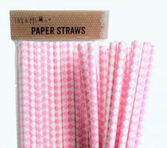 Pink Square Retro Drinking Paper Straws