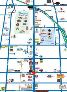 Map of area surrounding Disneyland the red star is where the hotel is Disneyland Good Neighbor Hotels, Disneyland Secrets, Disneyland Vacation, Disney World Vacation, Disney Vacations, Disneyland Hacks, Disneyland 2016, Disney Travel, Disneyland California Adventure