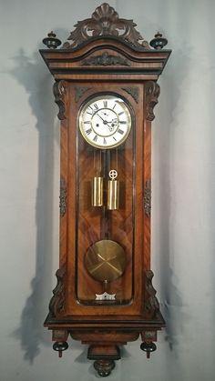GUSTAV BECKER. Zegar żyłkowy z roku 1892 No 929312 Antique Wall Clocks, Old Clocks, Art Nouveau Wallpaper, Retro Clock, Modern Clock, Grandfather Clock, Gifts For Office, Thing 1, Metal