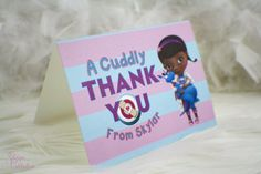 Thank You Card - Doc McStuffins theme | Birthday Thank You | Girly | Adorable | Purple | Blue | Cuddly
