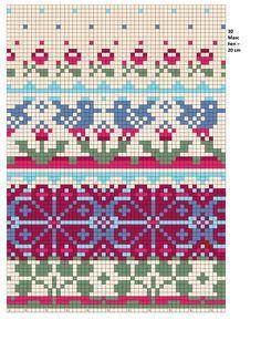 Fair Isle chart for Summer Cardigan; Design by BarbSie Fair Isle Knitting Patterns, Fair Isle Pattern, Knitting Charts, Knitting Designs, Knitting Stitches, Free Knitting, Tejido Fair Isle, Punto Fair Isle, Cross Stitch Pattern Maker