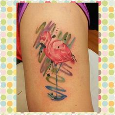 Pink flamingo tattoo