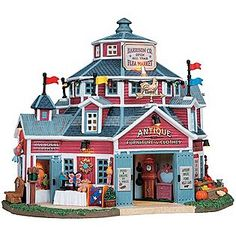 Lemax Village Collection  Christmas Village Building, Porcelain Lighted House ''Harrison Co. Flea Market'' With 4.5V Adaptor