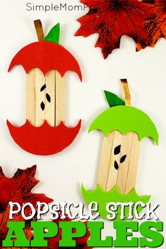 Looking for a fun, DiY Fall or Halloween party decoration for kids to make? Click now for a cheap, popsicle stick apple craft tutorial. Do them with your preschoolers in the classroom or at home with your toddlers. This Back to School, Halloween and Fall Apple is budget friendly and SO easy to do! #HalloweenCrafts #HalloweenDecorations #PopsicleSticks #BacktoSchool #BacktoSchoolCrafts #Halloween #FallCrafts #AutumnCrafts
