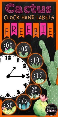 Cactus Classroom Decor FREEBIE - Cactus Classroom Decor Theme free printable cacti decoration for classroom The Effective Pictures W - Classroom Clock, 3rd Grade Classroom, New Classroom, Classroom Setup, Classroom Design, Kindergarten Classroom, Classroom Board, Classroom Organization, Classroom Decor Themes