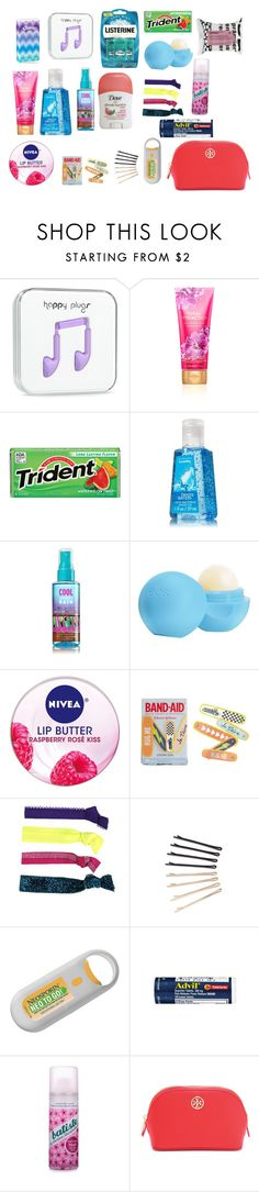 """Emergency Kit For School! Comment Your Essentials!"" by thatgirl6411xx ❤ liked on Polyvore featuring Eos, Nivea, J.Crew, Glam Bands, ban.do, Batiste, Tory Burch and Korres"